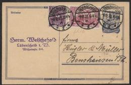 1922 -9.12.22 - MiF GS P148 1,50M  +Mi.115 U. Mi.224 LÜDENSCHEID N. BENSHAUSEN - Covers & Documents