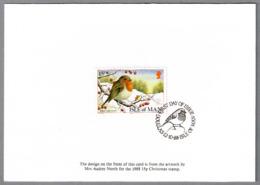 ROBIN - PETIRROJO. Isla De Man 1988 - Obliteraciones & Sellados Mecánicos (Publicitarios)