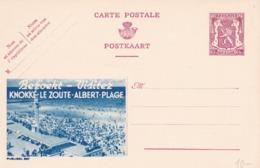 BELGIO - STORIA POSTALE NON VIAGGIATA - BELGIO - INTERO POSTALE 65 C. - KNOKK LE ZOUTE ALBERT- PLAGE - Stamped Stationery