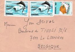 Timbres Pêche Sportive + Philex France 1989 Sur Lettre De Dakar (Sénégal) Vers La Belgique (1992) - Sénégal (1960-...)