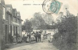 CPA 45 Loiret Chevry-sous-le-Bignon Place Du Bourg Tabac Liqueurs Eau De Vie Attelage - France