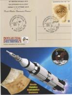 Italia 2019 Crema 50° Anniv. Primo Uomo Sulla Luna E 500° Morte Leonardo Da Vinci Annullo Cartolina Speciale - Celebrità