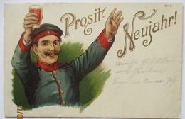 Prosit Neujahr, Soldat Mit Bier, Litho 1906 Aus Metz (49157) - Militaria