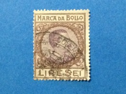 REGNO D'ITALIA MARCA DA BOLLO 6 LIRE SEI USATA VITTORIO EMANUELE FILIGRANA CORONA - Steuermarken