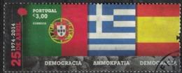 Portugal 2014 Oblitéré Used 25 Avril Démocratie Drapeaux Portugal Grèce Espagne SU - 1910-... Republiek
