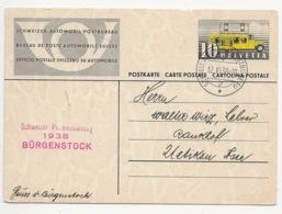 Schweiz Suisse 1938: Karte Mit O Philatelistentag 1938 BÜRGENSTOCK 12.VI.38 SCHWEIZ. AUTOMOBIL-POSTBUREAU - Interi Postali