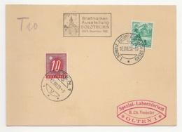 """Schweiz Suisse 1938: Karte """"Briefmarken-Ausstellung SOLOTHURN"""" 10.XII.38 Nachtaxiert Mit Porto No. 55 O OLTEN 10.XII.38 - Taxe"""