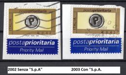 Italia 2002 Uf. 2633-2764 Posta Prioritaria Viaggiato Used On Paper Su Frammento - 6. 1946-.. Repubblica
