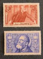 FRANCE - 1936 - YT 318 Et 319 * - JEAN JAURES - Unused Stamps