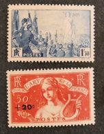 FRANCE - 1936 - YT 328 Et 329 * - RASSEMBLEMENT UNIVERSEL POUR LA PAIX / POUR L ART ET LA PENSEE - Unused Stamps