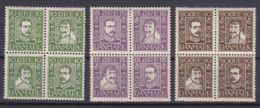 Danmark 1924 Mi#131-142 Viererblocks, Pieces Of Four, Mint Hinged - 1913-47 (Christian X)