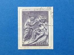 1974 ITALIA ARTE QUADRO JACOPO DELLA QUERCIA FRANCOBOLLO USATO STAMP USED - 6. 1946-.. Repubblica