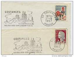 Ar1591 2 Secap 418 418a Coutances 1962 1967 Manche /lettre - Marcofilie (Brieven)