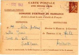 Carte  Petain 1 F 20  Rouge  Demande D'extrait De Naissance  2 DEC 43 - Ganzsachen