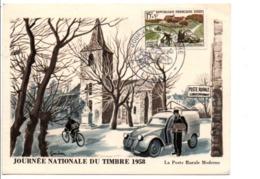 CATRTE MAXIMUM 1958 JOURNEE DU TIMBRE - DESSIN DE GANDON 2CV CITROEN - Maximumkarten