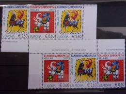 GRECE EUROPA CEPT 2002 2 BANDE DE 3 NEUF** DEPART 1 EURO - 2002