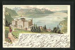 Lithographie Caux S / Montreux, Grand Hotel - VD Vaud
