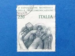 1979 ITALIA ESPOSIZIONE MONDIALE TELECOMUNICAZIONI 220 FRANCOBOLLO USATO STAMP USED - 6. 1946-.. Repubblica