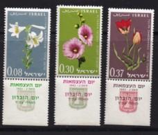 ISRAEL, 1963, Unused Stamp(s), With Tab,  Independence - Flowers, SG257-259, Scannr. 17586 - Israël