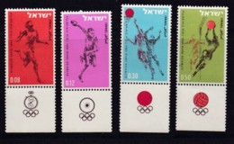 ISRAEL, 1964, Unused Stamp(s), With Tab, Olympic Games Tokyo, SG278-281, Scannr. 17588 - Israël
