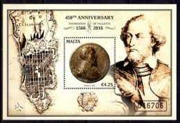 2016 Malta - 450 Years Of La Valetta City Jean De La Valette (1494-1568), 49. Großmeister MS MI B 67 - MNH** - Malte