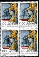 2018 Austria - 100 Years Of Austria Republic - Block Of 4 MNH**MiNr. 3421  Palace, Sculpture, History, World War I - 1945-.... 2de Republiek