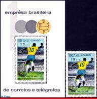 Ref. BR-1144-45 BRAZIL 1969 FOOTBALL SOCCER, 1,000TH GOAL BY PELE,, MI# B26 1238,S/S 1970 & STAMP MNH 2V Sc# 1144-1145 - Brasile