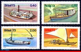 Ref. BR-1322-25 BRAZIL 1973 SHIPS, BOATS, RIVER BOATS,, MI# 1409-12, SET MNH 4V Sc# 1322-1325 - Boten