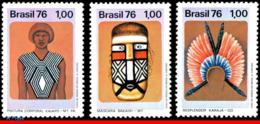 Ref. BR-1429-31 BRAZIL 1976 ART, PRESERVATION INDIGENOUS, CULTURE, PAINTING, MASK, MI# 1525-27,MNH 3V Sc# 1429-1431 - Kulturen