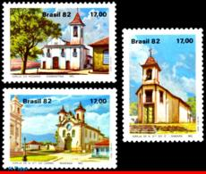 Ref. BR-1806-08 BRAZIL 1982 CHURCHES, BAROQUE ARCHITECTURE,, TOURISM, MI# 1906-08, MNH 3V Sc# 1806-1808 - Nuovi