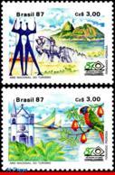 Ref. BR-2109-10 BRAZIL 1987 TOURISM, MONUMENTS, SCULPTURE,, CHURCH, PARROT, SAILBOATS, SET MNH 2V Sc# 2109-2110 - Denkmäler
