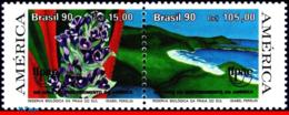 Ref. BR-2287A BRAZIL 1990 FLOWERS, PLANTS, WILDLIFE RESERVE, UPAEP,, MI# 2381-82, MNH 2V Sc# 2286-2287 - Brasilien
