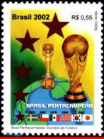 Ref. BR-2848 BRAZIL 2002 FOOTBALL SOCCER, WORLD CUP CHAMPIONSHIP,, SPORT, FLAGS, MI# 3257, MNH 1V Sc# 2848 - Brasilien