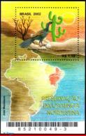 Ref. BR-2849 BRAZIL 2002 NATURE, PRESERVATION OF CAATINGA,, BIRDS, CACTI, MAPS, MI# B119, S/S MNH 1V Sc# 2849 - Blocks & Kleinbögen
