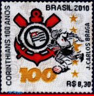 Ref. BR-3146 BRAZIL 2010 FOOTBALL SOCCER, CORINTHIANS SPORT CLUB,, STAMP IN CLOTH, UNUSUAL 1V Sc# 3146 - Brasile