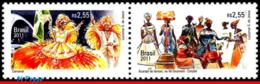 Ref. BR-3199-200-T BRAZIL 2011 JOINT ISSUE, WITH BELGIUM, FOLKLORE,, EUROPALIA, DANCE ,SE-TENANT MNH 2V Sc# 3199-3200 - Dans