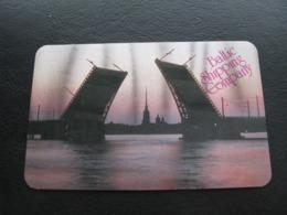 USSR Soviet Russia  Holography Shining Pocket Calendar Baltic Shipping Company Ship Bridge St. Petersburg 1988 - Calendars