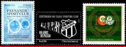 Ref. BR-3266+75+82 BRAZIL 2014 FOOTBALL SOCCER, PAYSANDU,CEARA,PALMEIRAS,, CENT., FAMOUS CLUBS, MNH 3V Sc# 3266+75+82 - Brasilien