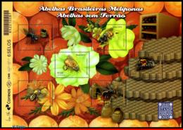 Ref. BR-3304 BRAZIL 2015 INSECTS, BEES, WITH AROMATIC RESIN, ,PHILATELIC EXHIBITION LONDON, SHEET MNH 6V Sc# 3304 - Abeilles