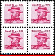 Ref. BR-RA25-Q BRAZIL 1989 HEALTH, HANSEN DISEASE, LEPROSY,, HANSENIASIS,FR.JOSEPH DAMIEN,MI# Z26,MNH 4V Sc# RA25 - Brasilien