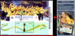 Ref. BR-V2016-10+E BRAZIL 2016 SPORTS, TRIBUTE FEMALE HANDBALL,, WORLD CHAMPION IN 2013, S/S MNH + EDICT 1V - Brasilien