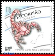 Ref. BR-V2019-26 BRAZIL 2019 ASTROLOGY, ZODIAC SIGNS, SCORPIO,, 8TH ISSUE, CONSTELLATION OF SCORPIO, MNH 1V - Brasilien