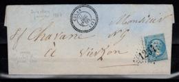 GC 1254 De Culan Sur YV 22 + Cachet Perlé Sur Lettre Avec Cachet De Passe 4201 Au Verso - 1849-1876: Periodo Classico