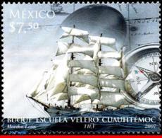 Ref. MX-2557 MEXICO 2007 - CUAUHTEMOC SAILING SCHOLL, , COMPASS, MNH, SHIPS, BOATS 1V Sc# 2557 - Messico