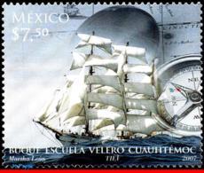 Ref. MX-2557 MEXICO 2007 SHIPS, BOATS, CUAUHTEMOC SAILING SCHOLL, , COMPASS, MNH 1V Sc# 2557 - Bateaux