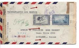 COSTA RICA - Switzerland 1944 Censor Bermuda I.C. + US + German Berlin, Air Cover , Lausanne Suisse, Schweiz. 3 Censures - Costa Rica