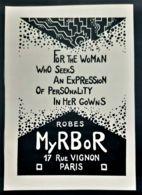 ROBES MYRBOR HAUTE COUTURE 1920 PUBLICITE LUXE TISSUS MODE ROBE SOIREE PARIS ANTIQUE AD FASHION FABRIC GOWNS DRESS - Publicités