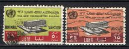 LIBIA - 1966 - INAUGURAZIONE DEL NUOVO PALAZZO A GINEVRA DELL'ORGANIZZAZIONE MONDIALE DELLA SANITA' - USATI - Libia