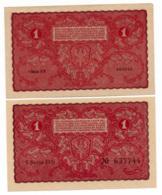 POLOGNE // 1919 // 2 X 1 Marka // XF/SUP - Poland
