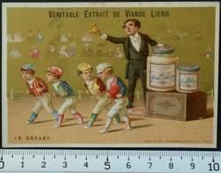 LIEBIG CHROMO DÉPART COURSE 1880 LITHO VIEILLEMARD CARTE-RECLAME IMAGE PUBLICITÉ MODE D'EMPLOI EXTRACT MEAT TRADE CARD - Liebig